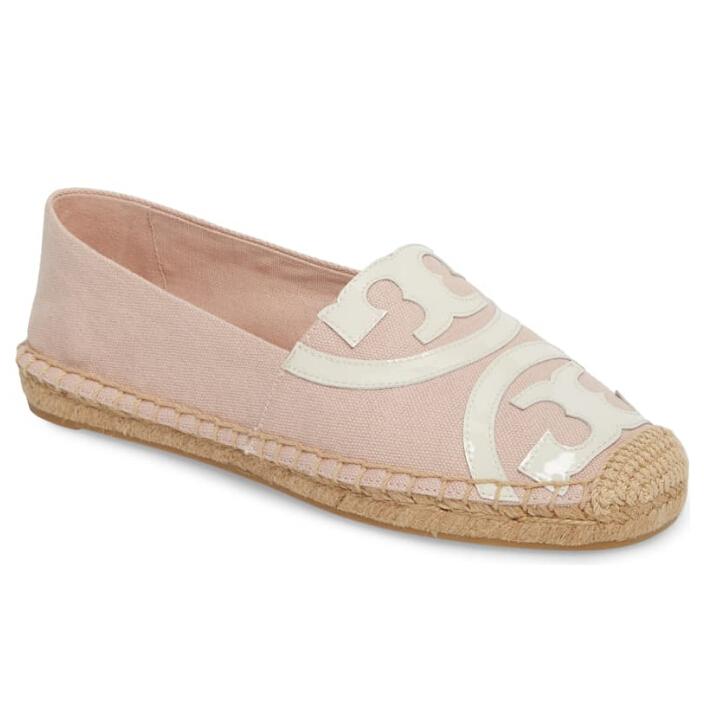 TORY BURCH Poppy Logo 淺粉色草底鞋