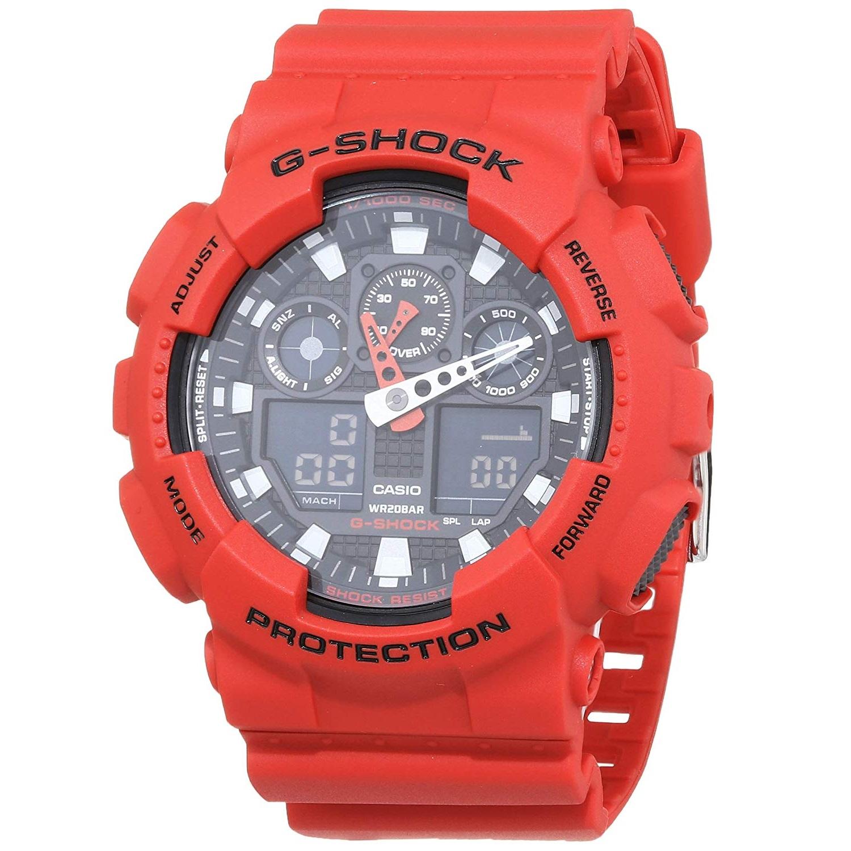 【中亞Prime會員】Casio 卡西歐 G-SHOCK GA-100B-4AER 男款時尚運動腕表 紅色