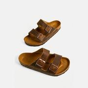 Birkenstock Arizona 棕色皮革拖鞋