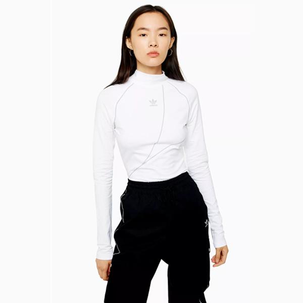 【學生享7.5折】Adidas 抽象線條半高領修身打底上衣