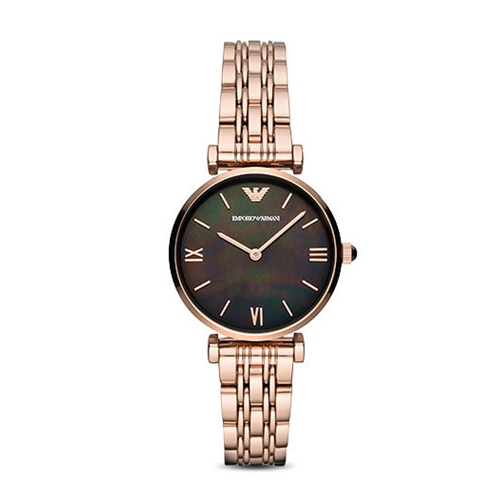 Emporio Armani 阿瑪尼新款玫瑰金鋼帶手表女墨綠色手表女
