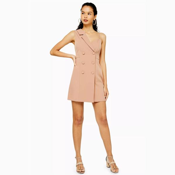Topshop 不對稱肩膀雙排西裝吊帶裙