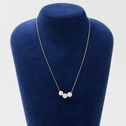 【7折包稅】Maria 7mm阿古屋海水珍珠K18金鏈 三顆珠 42cm
