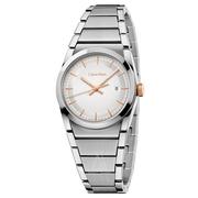 近期低價!Calvin Klein 卡爾文·克萊因 Step 系列 銀色女士時裝腕表 K6K33B46