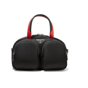 PRADA 皮革邊飾尼龍手提包