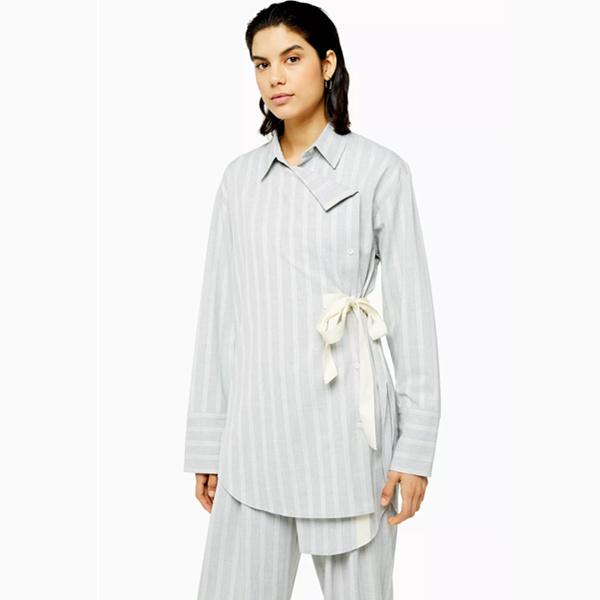 Topshop Boutique 不對稱系帶條紋襯衫
