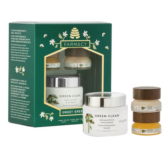 6.5折!Farmacy 卸妝膏 90ml+蜂蜜面膜15ml+面霜15ml 護膚套裝