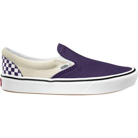 限尺碼!Vans 萬斯 Comfycush Slip-On 白紫棋盤格印花帆布鞋一腳蹬