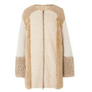 STELLA MCCARTNEY 大廓形拼縫羊毛皮外套