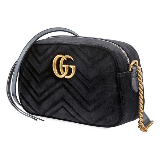 【55專享】Gucci 古馳 黑色天鵝絨小號單肩包