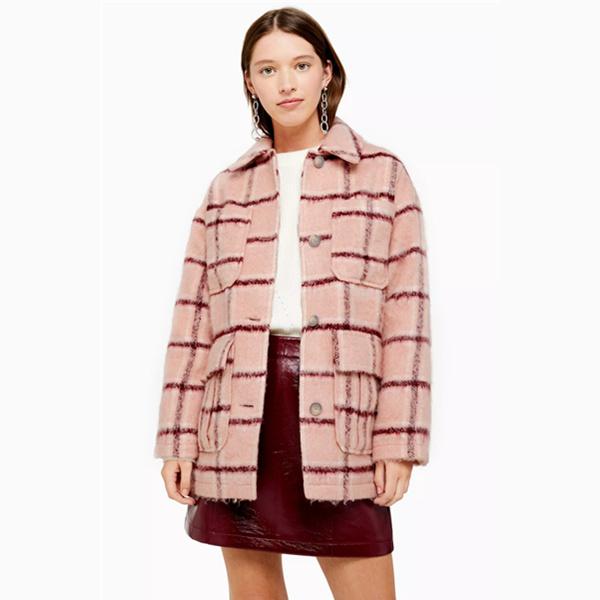 Topshop 新款粉紅格紋襯衫式夾克外套