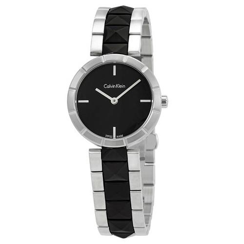 【55專享】Calvin Klein 卡爾文·克雷恩 Edge 系列 銀黑色鉚釘女士時尚腕表 K5T33C41