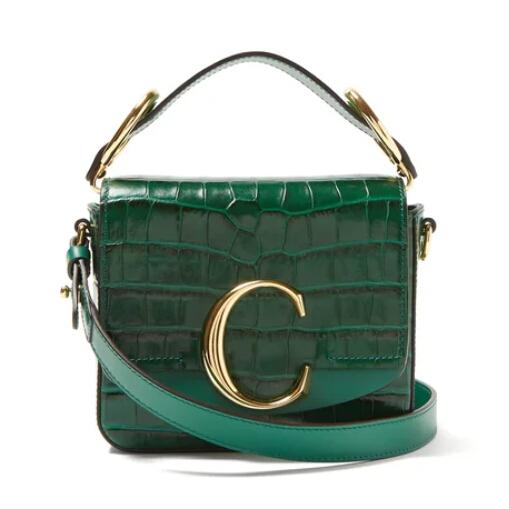 歐陽娜娜同款 CHLOé The C mini 鱷魚皮紋理綠色包包