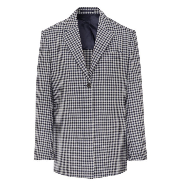 WRIGHT LE CHAPELAIN 格紋羊毛西裝外套