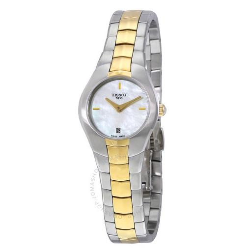 【55專享】降價!Tissot 天梭 T-Round 系列 珍珠母貝金銀雙色女士氣質腕表 T096.009.22.111.00
