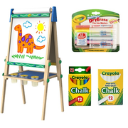 【雙11預售】【返利4.68%】Crayola 繪兒樂 木質雙面畫板+無塵粉筆+彩色粉筆+白板水彩筆