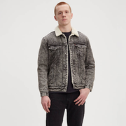 Levi's 男士羊羔毛炭黑色夾克