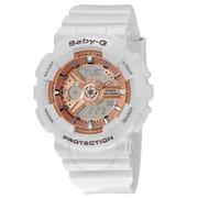 Casio 卡西歐 Baby G 系列 玫瑰金白色女士運動腕表 BA110-7A1