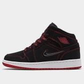 """【限時高返7.5%】喬丹 Air Jordan 1 Mid 大童款籃球鞋 黑紅 <b style=""""color:#ff7e00"""">$100(約696元)</b>"""