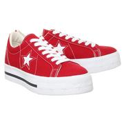 Converse 匡威 One Star 紅色厚底低幫帆布鞋