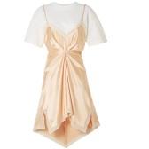 ALEXANDER WANG 分層式蕾絲邊飾真絲查米尤斯綢緞純棉平紋布迷你連衣裙