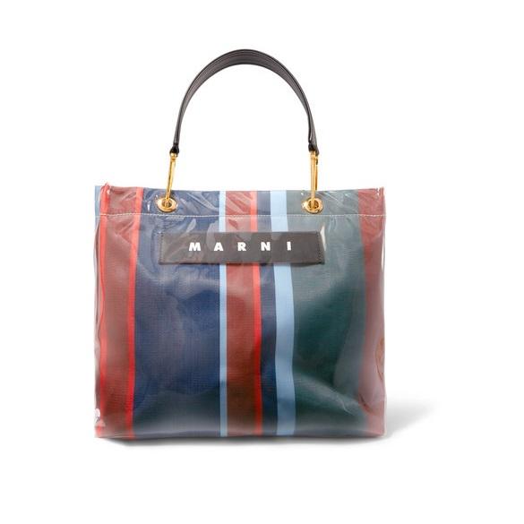 MARNI Grip 皮革邊飾條紋帆布 PVC 中號手提包