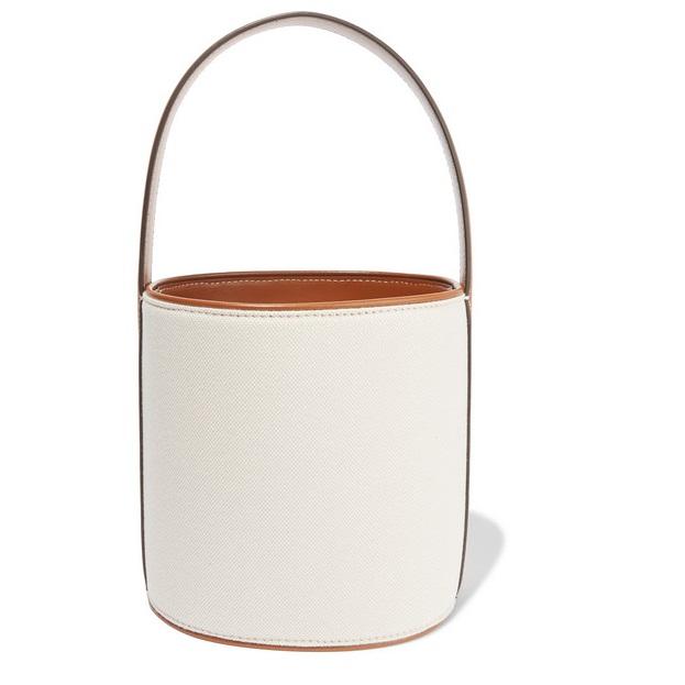 STAUD Bissett 皮革邊飾帆布水桶包