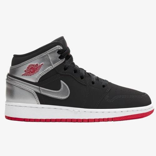 喬丹 Air Jordan 1 Mid 大童款籃球鞋 黑銀