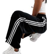 adidas Originals 黑色絲絨三條扛闊腿褲