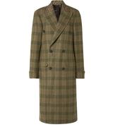 R13 大廓形豹紋純棉邊飾格紋羊毛斜紋布外套