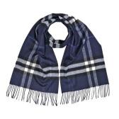 【55專享】Burberry 博柏利 深藍色格紋羊絨圍巾