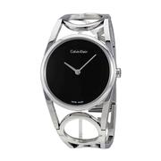 【中亞Prime會員】Calvin Klein 卡爾文·克雷恩 Round系列 銀黑色女士時裝腕表 K5U2S141