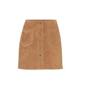 SAINT LAURENT 棕色麂皮迷你裙