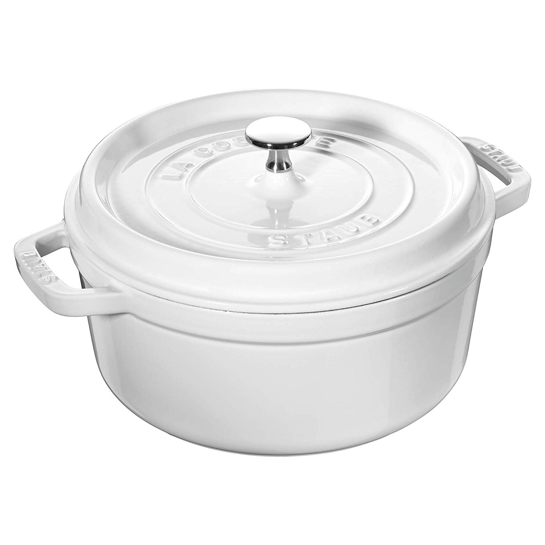 Staub 圓形帶蓋琺瑯鍋鑄鐵鍋 24cm/4.4升 白色