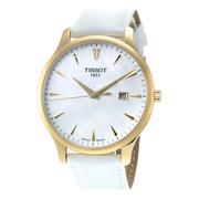 好價!Tissot 天梭 T-Classic 系列 白金配色女士氣質腕表 T0636103611600