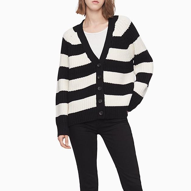 Calvin Klein 黑白條紋針織開衫