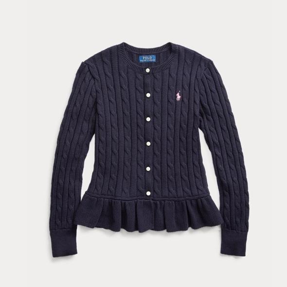 Ralph Lauren 拉夫勞倫 Cable Cotton Peplum 7-16歲針織開衫