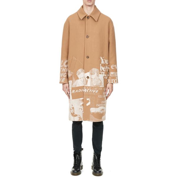 【三件享額外8.8折】MSGM Magazine 印花單排扣羊毛大衣