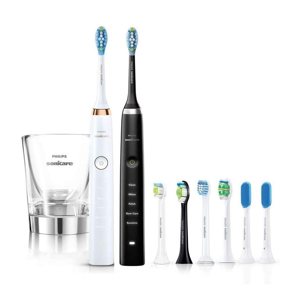 【中亞Prime會員】Philips 飛利浦 HX9399/36 鉆石清潔電動牙刷2只裝 附8個刷頭 白+黑