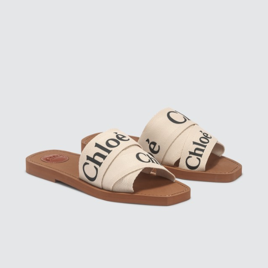 CHLOé Woody Logo 印花帆布拖鞋