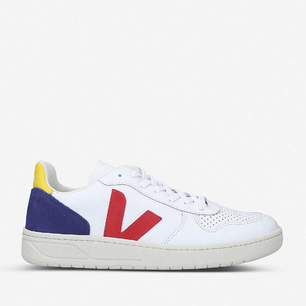 Veja V-10 leather and suede trainers 皮革运动鞋