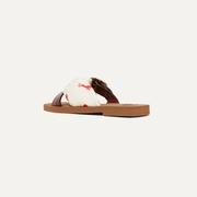CHLOé Woody 皮革印花緞面斜紋布拖鞋