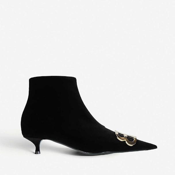 【雙12】Balenciaga 巴黎世家 BB 裝飾天鵝絨踝靴