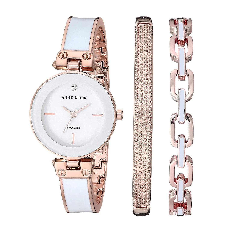 【中亞Prime會員】Anne Klein 安妮克萊恩 AK/3346WRST 女士鑲鉆手表手鐲套裝