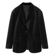 ARKET 寬松絲絨黑色西裝外套