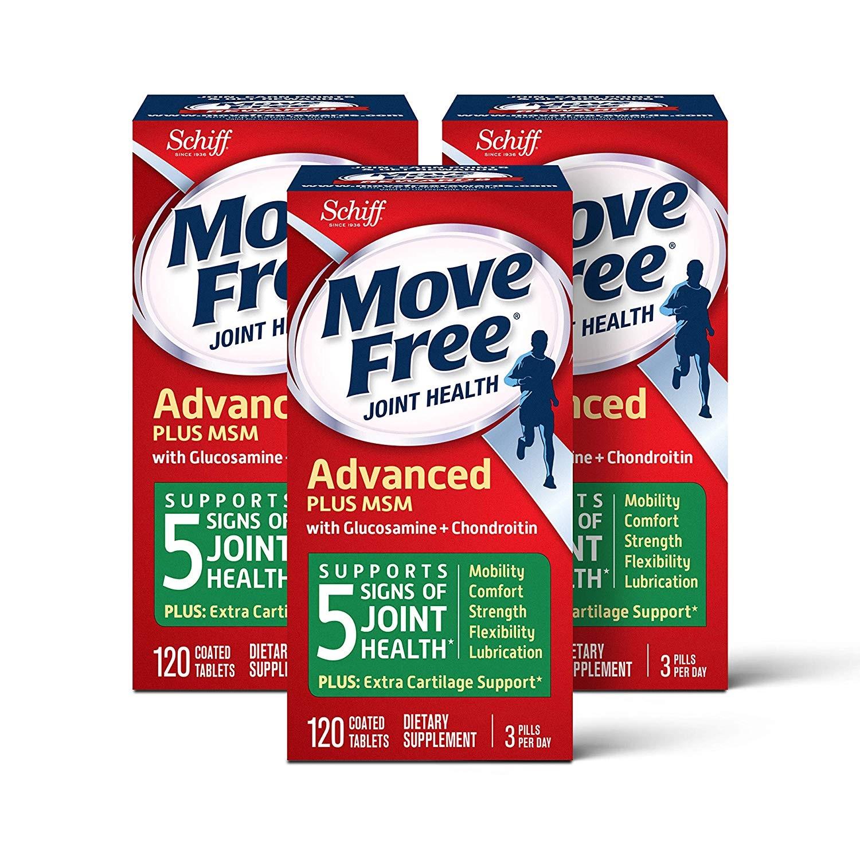 【中亞Prime會員】Schiff Move Free 維骨力氨基酸軟骨素片 添加MSM 120粒*3盒