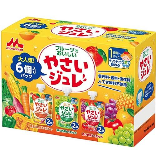 【日亞自營】森永 兒童蔬菜水果果汁果凍吸吸樂 70g*6袋
