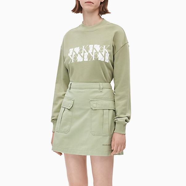 Calvin Klein 豆綠色 Logo 印花衛衣