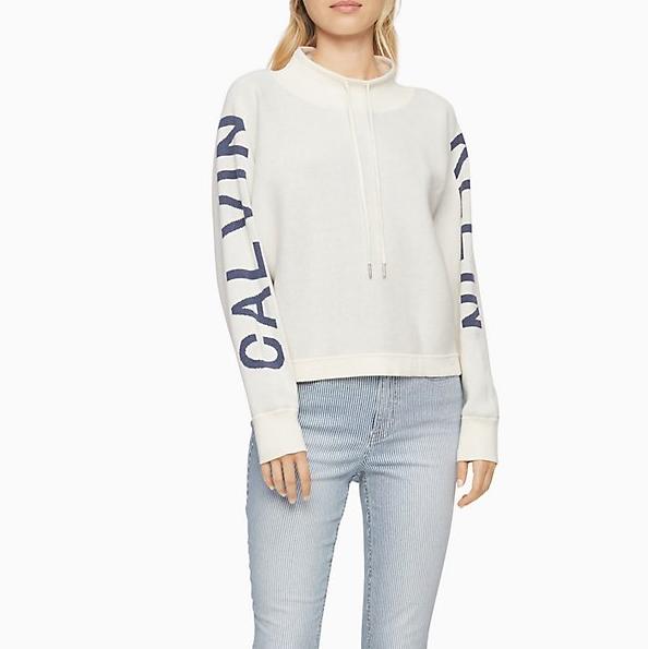 Calvin Klein 官網 Logo 串標針織衫上衣