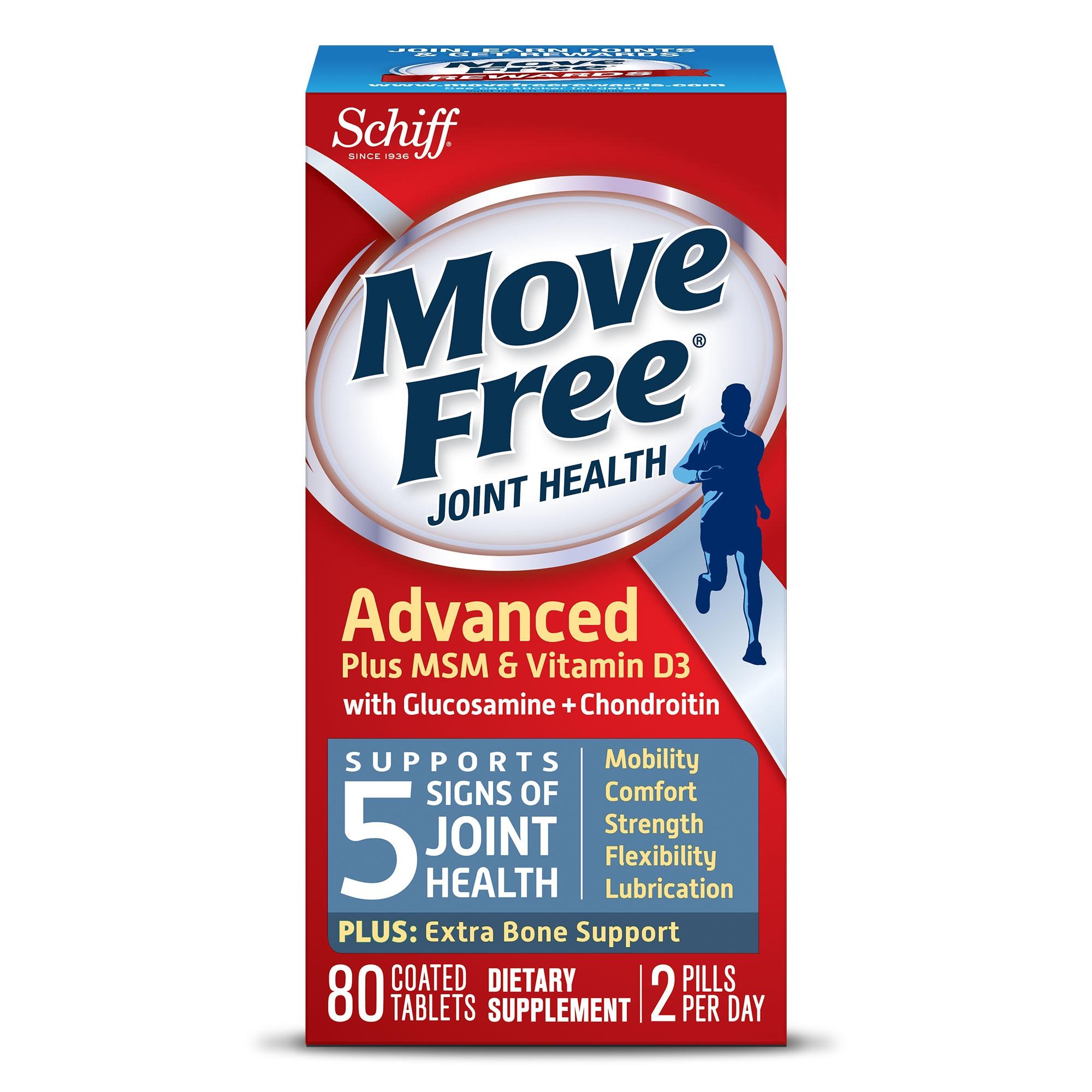 Schiff Move Free 葡萄糖胺维骨力+维他命D3 蓝盒/蓝瓶 80粒*2瓶